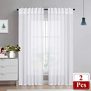 NICETOWN White Extra Long Sheer Curtains - Soft Translucent Voile Sheer Light & Airy Drapes Window Covering for Patio Sliding Glass Door, 2 Panels, 55 inches Wide x 95 inches Long