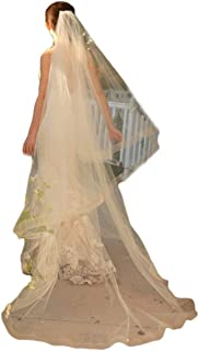 Ruolai Cathedral Length Bridal Veil Two-Tier Wedding Veil with 1