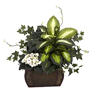 Silk Flower Arrangements Nearly Natural 6684 African Violet Dieffenbachia and Ivy with Chest Decorative Silk Plant, Green