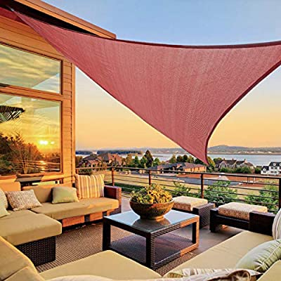 LOVE STORY 12' x 12' x 12' Triangle Terra Red Sun Shade Sail Canopy UV Block Awning for Outdoor Patio Garden Backyard