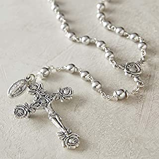 Catholic Silver Swarovski Pearl Rosary Necklace with Rose Detailed 2