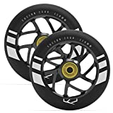 Fuzion Pro Scooter Wheels 110mm Hollow Core Stunt Scooter Sig Wheels with ABEC - 9 Bearings Pair (Flight Wheel - Black/Black)