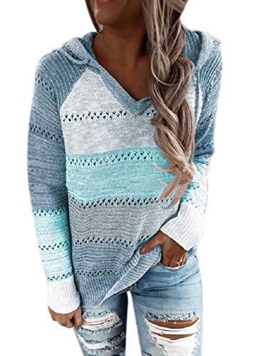 MAGIMODAC Strickpullover Damen Pullover Kapuzenpullover Hoodies Pulli Kapuzenpulli Sweatshirt Tops Oberteil Herbst Winter Strick Hoodie (Blau, XL)