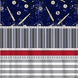 Alicert5II Baseball Classic RedWhiteNavyGrey Duschvorhang Stripes Stitches Bälle & Fledermäuse Baseball Theme Bath