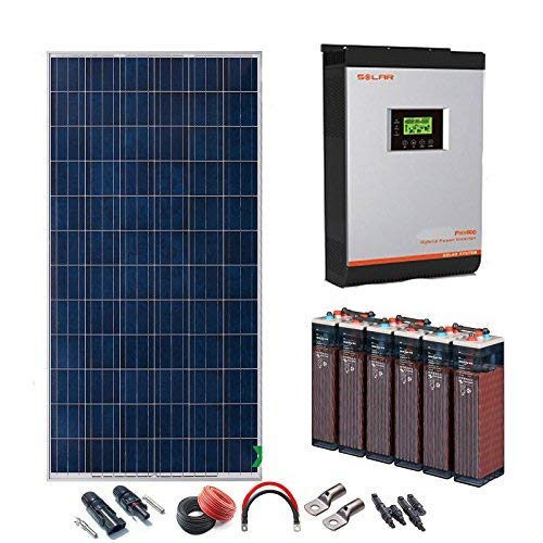 Kit Solar 24v 2400w/12000w día Batería 6OPzS 900Ah Inversor Multifunción 5kva Regulador MPPT 80A