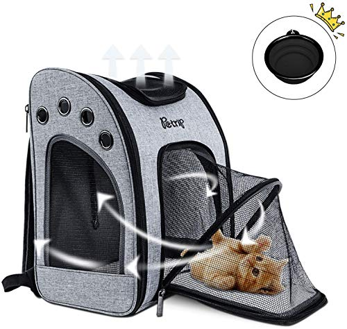 PETLUVER Cat Backpack Carrier for Large Cats 22 lbs (Airline Approved) Pet Carrier Backpack for Medium Dogs Cat Hiking Pet Backpack Carrier