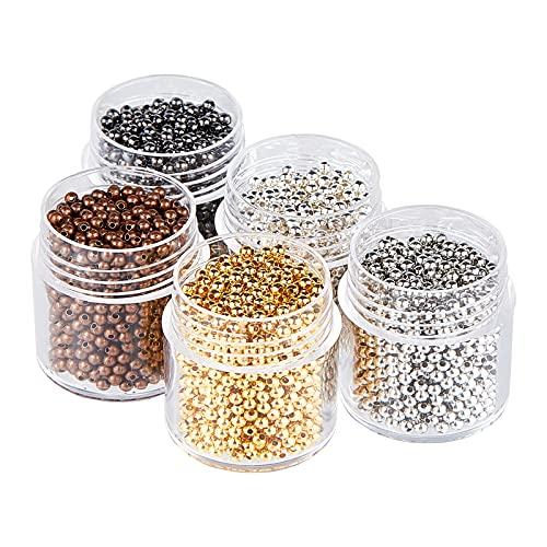 PandaHall 5scatole in Ferro Perline distanziatore Tondo, Colore Misto, 2mm, Foro: 1mm, CIRCA850PCS/Box