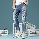 ZWH Jeans Menores 2020 Primavera Nuevo Lavado de Agua Agujero Micro-Bomba Moda Muchosos Mixtos Pantalones de Mezclilla (Color : 6986 Blue, Size : 28 EU)