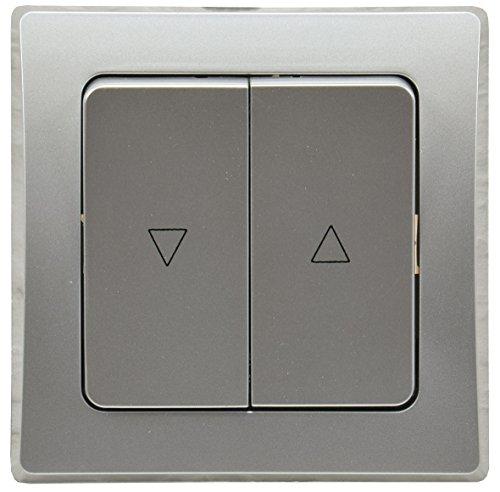 DELPHI Jalousie Rolladen Steuerung Taster Schaltung 2 Wippen mit abnehmbarem Rahmen Unterputz I Silber Grau