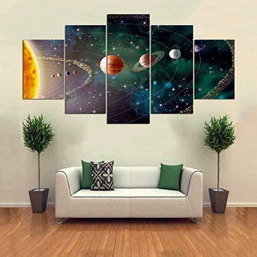 HGFDS Cuadro sobre Lienzo Moderna Pintura sobre Lienzo Sala Estar Dormitorio Universo de Galaxias del Sistema Solar Decoración Mural Artes Pared Regalo Carteles con Marco 5 Piezas150x80cm
