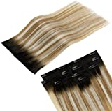 LaaVoo Extensions Capelli Veri Clip in 100% Real Human Hair Clip Extension 18 Pollice 70g...