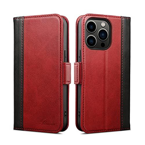 Rssviss Funda compatible con iPhone 13 Pro, piel sintética para iPhone 13 Pro con función atril magnética para iPhone 13 Pro Flip Cover a prueba de golpes de 6.1 pulgadas, color rojo