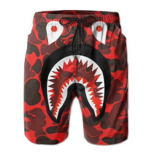 Men's Bape Shark Pattern Swim Trunks Shorts Quick Dry Bathing Suits Summer Casual Surfing Board Shorts White