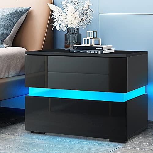 HALLOLURE LED Nightstand, Modern Design End Table Tall 2-Drawer Nightstand Stand Storage Shelf Bedside Side Table Bedside Furniture Black