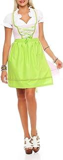 Fashion4Young N10590 Damen Dirndl 3 TLG.Trachtenkleid Kleid Bluse Schürze Oktoberfest