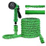 Manguera de jardín Tubos ampliable Ampliación mágica Manguera de extensión verde con el arma de aerosol 7-patrón de inyectores flexible Fácil de almacenamiento de alquiler de lavado, riego del jardín,