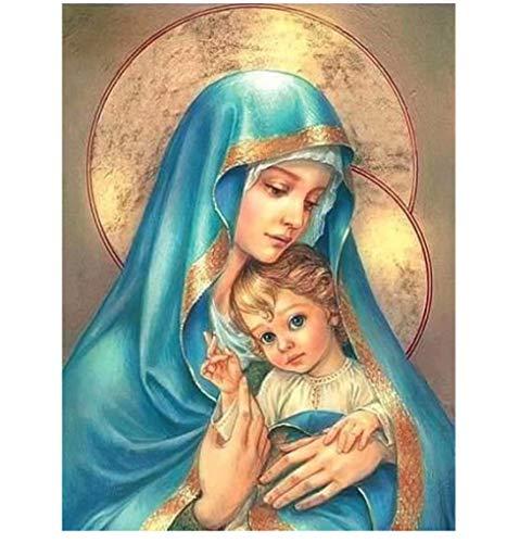 Virgen María Cristo Robo Pintura de diamante Iconos religiosos Imágenes Diy Bordado de diamante 3D Jesús azul usando dibujos de mosaico