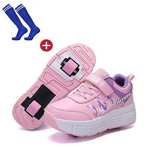 Scarpe da Corsa Scarpe Sportive con Ruote, Scarpe per Bambini con Ruote, Scarpe a Rullo alla Moda Scarpe Skateboard Scarpe per Bambini con 2 Ruote, per Bambini Ragazze Giovani Adulti,Pink-38
