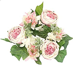"""Admired By Nature Artificial Pink 13"""" Artficial Flower Candle Ring Handmade Floral Spring Wreath for Front Door Wall Wedding Party Home Decor ABN1W005-PK-CM"""