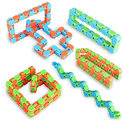 Ganowo Wacky Tracks Snap Fidget Toys - Puzzles Snake Click Sensory Toy Stocking Stuffers for Kids Bulk Class Reward,Goodie Bags Fillers Assorted Colors(Pack of 6)