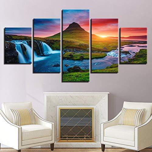 5D DIY sztuka diamentowy obraz 5 sztuk piękne islandzkie wodospad obrazy zielona góra rzeka krajobraz plakaty dekoracja domu praca