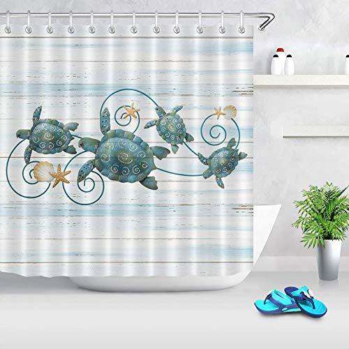ECOTOB Sea Turtle Shower Curtain Decor, Ocean Sea Turtles and Starfish On Rustic Vintage Wood Panels Shower Curtains 72X72 inch Polyester Fabric Bathroom Decorations Bath Curtains Hooks Included