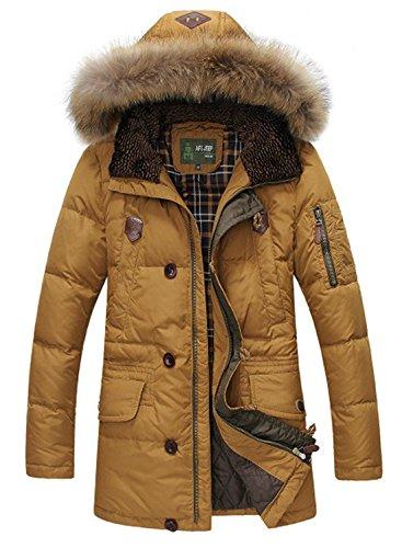 BININBOX® Manteau Fashion Parka Hommes Doudoune avec Capuche Manteau d'hiver en Fourrure Amovible (Français L/Fabricant GR.2XL, Jaune)