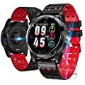 Sports watch IP67 waterproof smart watch fitness tracker heart rate monitor Smart Bracelet with blood pressure monitor Pedometer activity tracker watch Compatible with Android iOS for Men Women Red