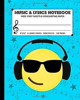 Music & Lyrics Notebook: Dual Wide Staff Manuscript
