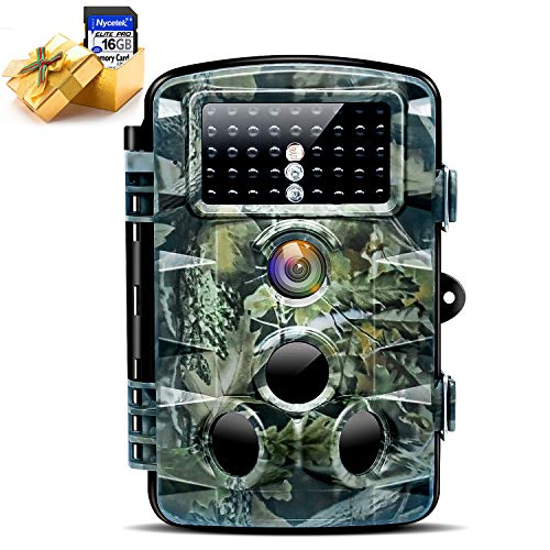 """Nycetek Trail Game Camera Hunting Camera with 120° Wide Angle Night Vision 1080P 16MP Trail Camera with Low Glow and IP66 Waterproof 2.4"""" LCD 42pcs for Outdoor Wildlife Watching(Included 16GB SD Card)"""