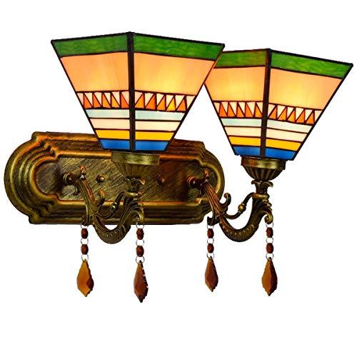 BXU-BG Lámpara de decoración de la pared lámpara de pared de estilo del sudeste asiático dormitorio de noche lámpara de pared de vidrio manchado clásica moderna británica Jardín Mediterráneo Hotel Dob
