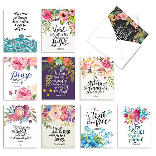 The Best Card Company - 10 Blank Inspirational Note Cards Boxed (4 x 5.12 Inch) - Holy Sentiments M2380OCB