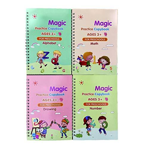 NIMON Juego de Cuaderno de práctica mágica para niños Libro de caligrafía mágica Reutilizable en inglés para Escribir a Mano Libro de Escritura de Letras mágicas para jardín de Infantes con Useful