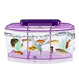 POPETPOP Mini Fish Tank Self-Cleaning Desktop Mini Ecological Goldfish Tank Square Rectangle Hatching