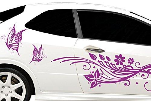 DD Dotzler Design Tuning Autoaufkleber V2 Seite links rechts Blumen Schmetterlinge Schnörkel 2 Stück auf Bogen a 162 x 46cm
