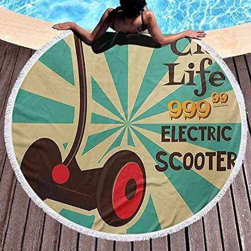 Toalla de Playa de Primera Calidad, Tapiz Vintage, tapete de Yoga, borlas, círculo, Scooter eléctrico, Icono en Primer Plano de Estilo Pop Art, diseño de Transporte Urbano a Rayas, Toallas Ligeras de