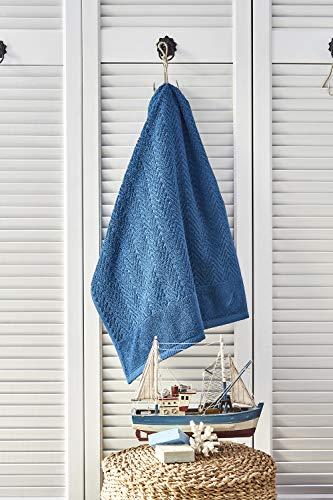 Nautica Zigzag - Toalla (100% algodón, 550 g/m², 50 x 100 cm, absorbente, suave y duradera), color azul