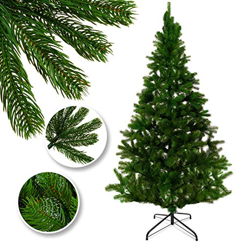 KESSER® Weihnachtsbaum künstlich 180cm mit 780 Spitzen, Tannenbaum künstlich Edeltanne Schnellaufbau inkl. Christbaum-Ständer, Weihnachtsdeko – PE grün 1,8m