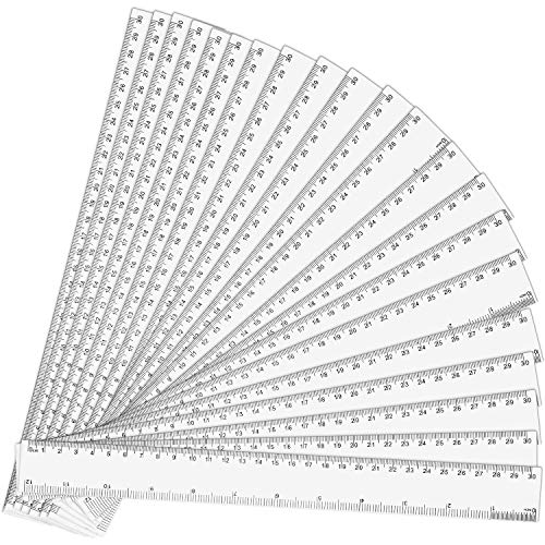 12 Inch Plastic Ruler Clear Ruler School Ruler with Inches and Metric Measuring Tool for Classroom, Home or Office (72 Packs)