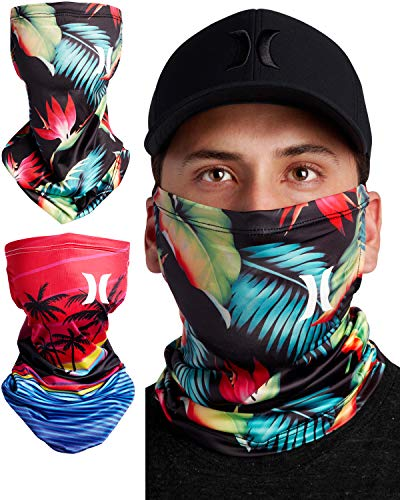 Hurley 2 Pack Breathable Neck Gaiter Face Mask with Ear Loops, Size Medium, Bright Crimson/Black