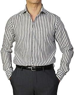 GUY ROVER シャツ セミワイドカラー リネン混 コットン ローン生地 製品洗い ストライプ柄 [並行輸入品]