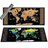 Scratch off World Map Deluxe International Travel Map Scratch off Map of the World include Flags Personalised Detailed Map with Capitals States Cities Poster Wall Art Perfect Gift 94 x 40 cm Black