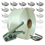 Textil Umreifungsset gewebt, 19 mm - 600 m Umreifungsband mit Bandspanner und Verschlussklemmen