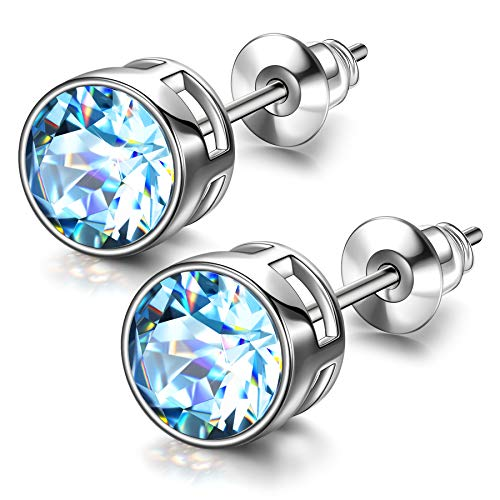 Susan Y Crystal Earrings for Women Jewellery for Women Gifts for Women Secret Santa Gifts for her Personalised Gifts for Mum Gifts Ladies Gifts Friendship Gifts(Aquamarine)