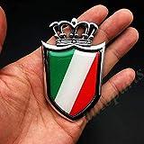 BBTY 3D Metal Chrome Italia Bandera Italiana Corona Escudo Coche Emblema...