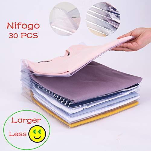 Nifogo Closet Organizer Kleidung Organisation System für Hemden oder Unterlagen in herkömmlicher Größe (30 Pack)