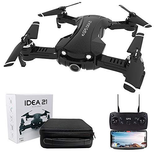 le-idea IDEA 21 - FPV Drohne mit 4K Kamera, 5GHz WiFi Live Übertragung ,1-Achsen Elektronischer Gimbal 120° Weitwinkel Kamera, GPS Drohne Return Home, Tragetasche