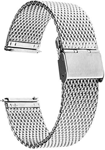 ZHENWULU Männer Strap 16mm 18mm 20mm 22mm Universal Uhrband Schnellspanner Uhr Band Mesh Edelstahlband Armband Armband-20mm_Silber Excellent