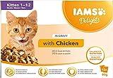 IAMS Delights - Cibo Umido per Gatti Cuccioli (1-12 Mesi), con Pollo in Salsa - 12 Bustine da 85 gr