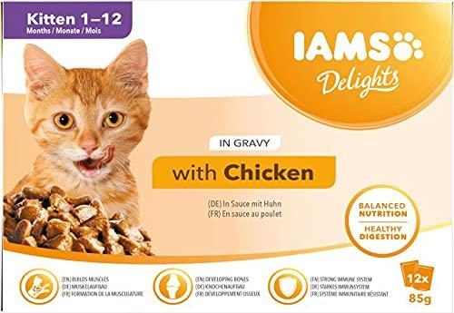 IAMS Delights Alimento Umido in Salsa Per Gattini con Pollo, 12 x 85g